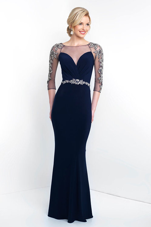 Navy Beaded Arms Gown