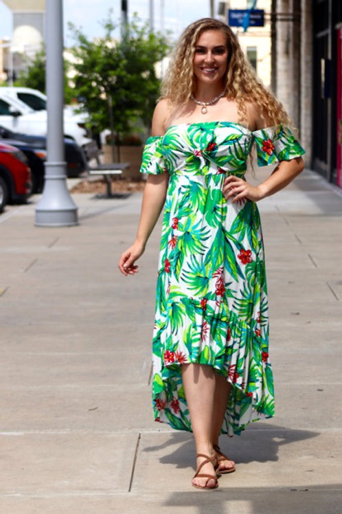 Tropical Paradise Green Floral Dress