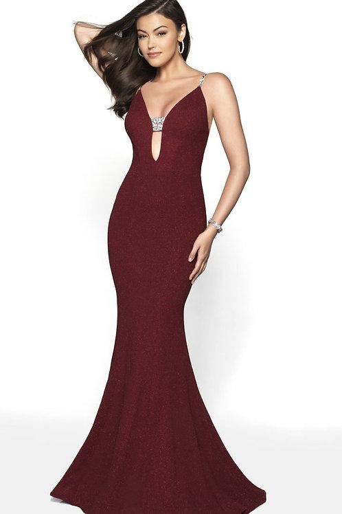 Burgundy Deep Plunge Gown