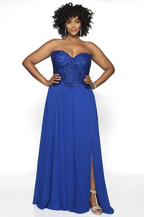 Blue Beaded Perfection Gown