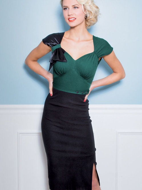 Green and Black Dress