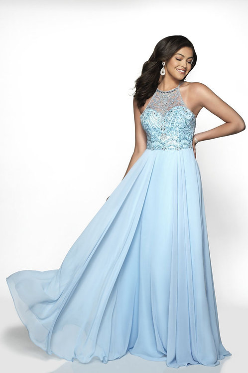 Baby Blue Beaded Halter Gown