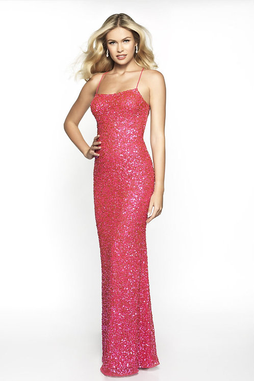 Pink Lace Up Gown