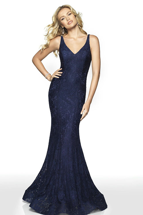 Navy Lacy Gown