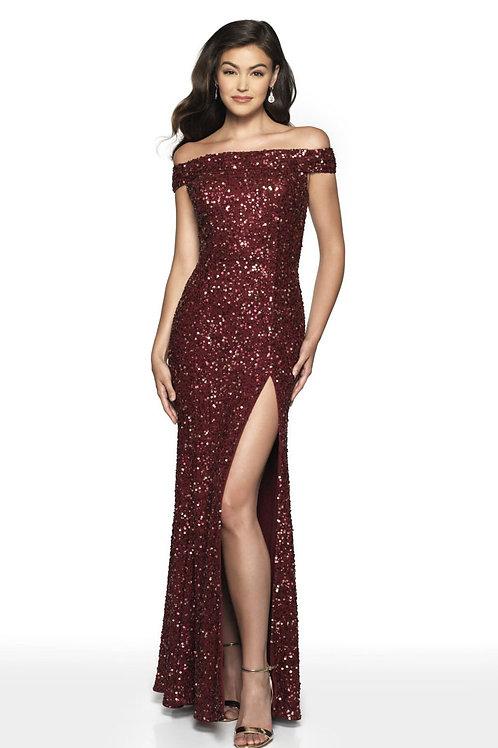 Burgundy Shoulder Sparkles Gown