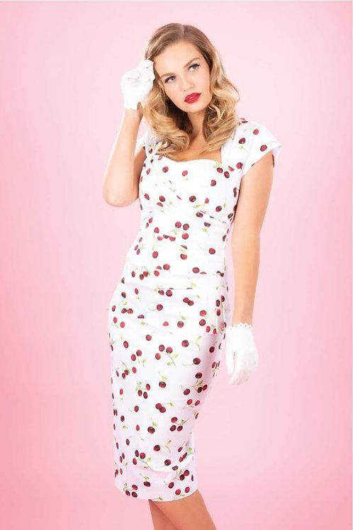 White Cherry Polka Dot Dress