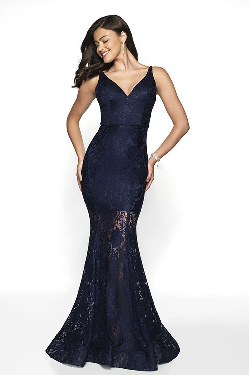 Navy Sheer Lace Gown