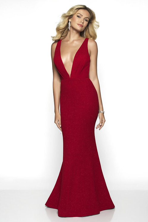 Red Deep V Gown