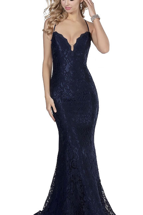 Give Me Royalty Navy Lace Gown
