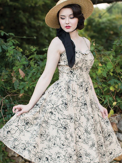 Tan Floral Swing Dress