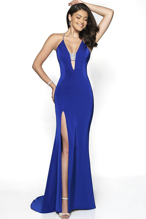 Blue Deep Plunge Gown