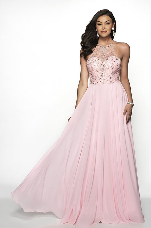 Pink Beaded Halter Gown