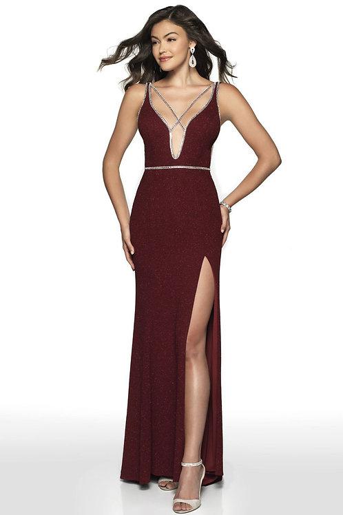 Burgundy Strappy Plunge Gown