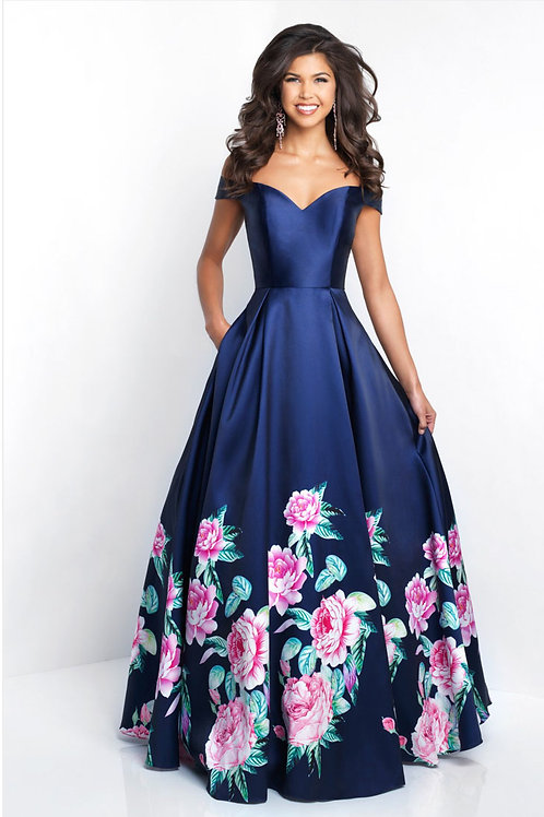 Navy Flowers Gown