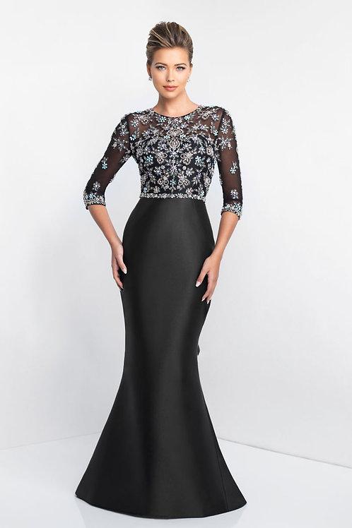 Black Floral Sleeves Gown
