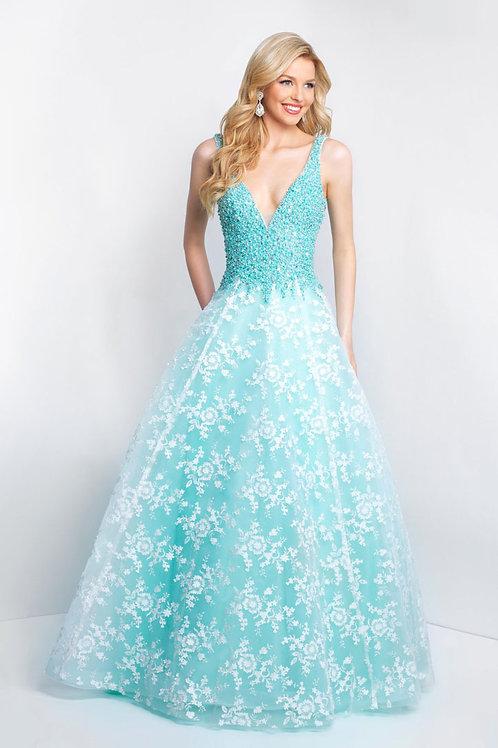 Aqua Elegant Flowers Gown
