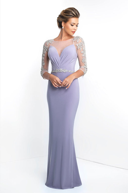 Lavender Beaded Arms Gown