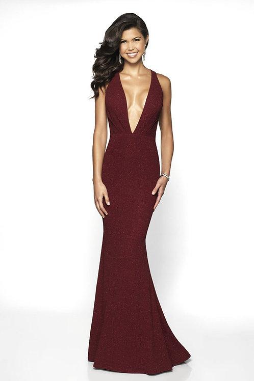 Burgundy Deep V Gown