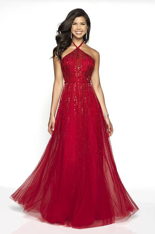 Red Criss-Cross Halter Gown