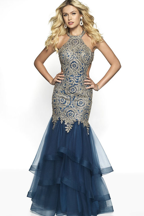 Blue Embellished Beauty Gown