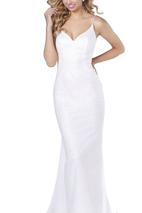 You're a Treasure White Lace Gown w/ Train