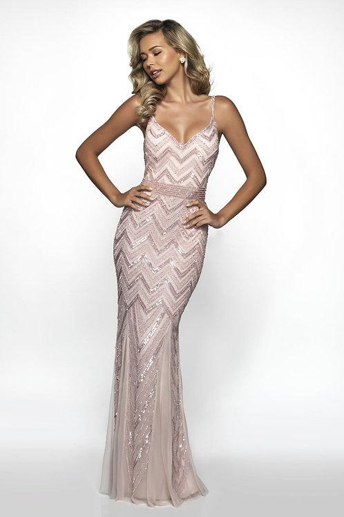 Pink Chevron Sparkle Gown