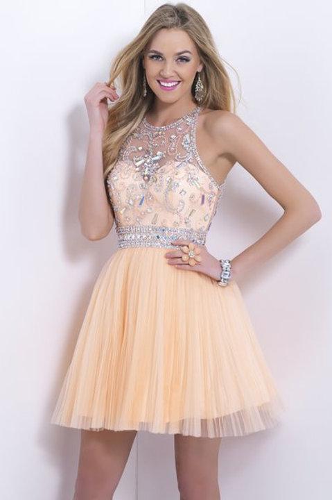 Short Peach Cocktail Dress