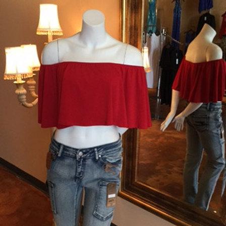 Off-Shoulder Red Top