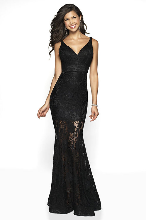 Black Sheer Lace Gown