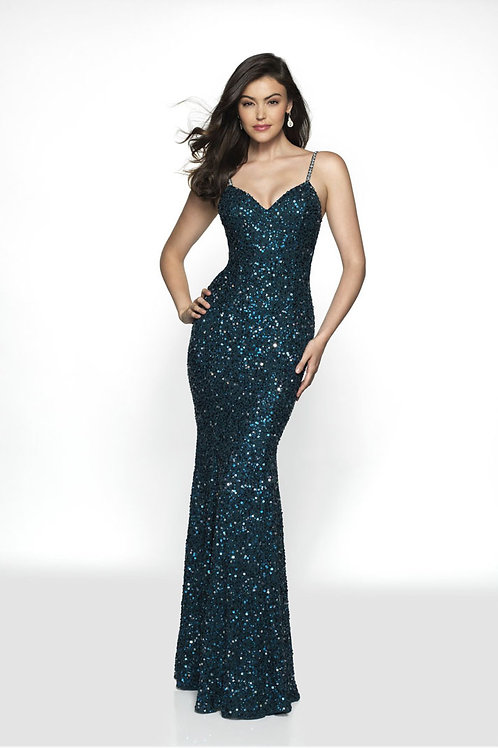 Teal Sexy Glitter Gown