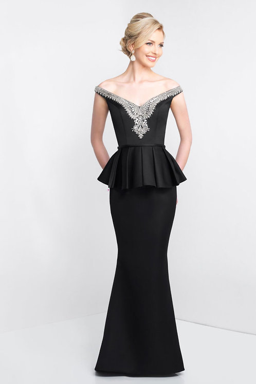 Black Sophisticated Peplum Gown