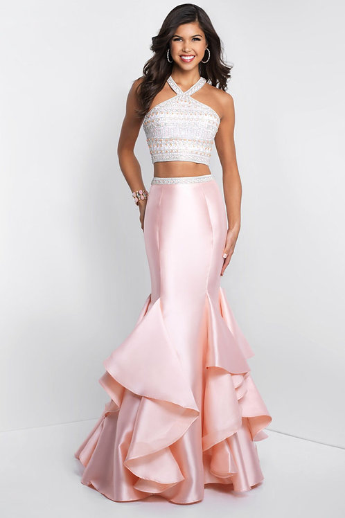 Pink Two-Piece Ruffle Mermaid Gown