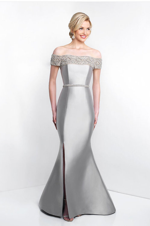 Silver Off-the-Shoulder Gown