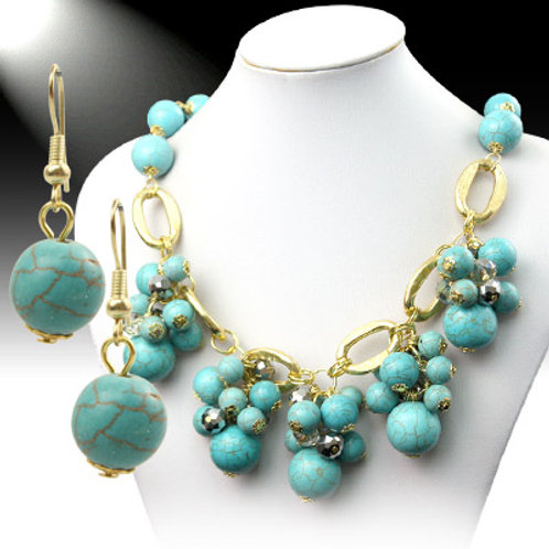 Green Marbles Neckless Set