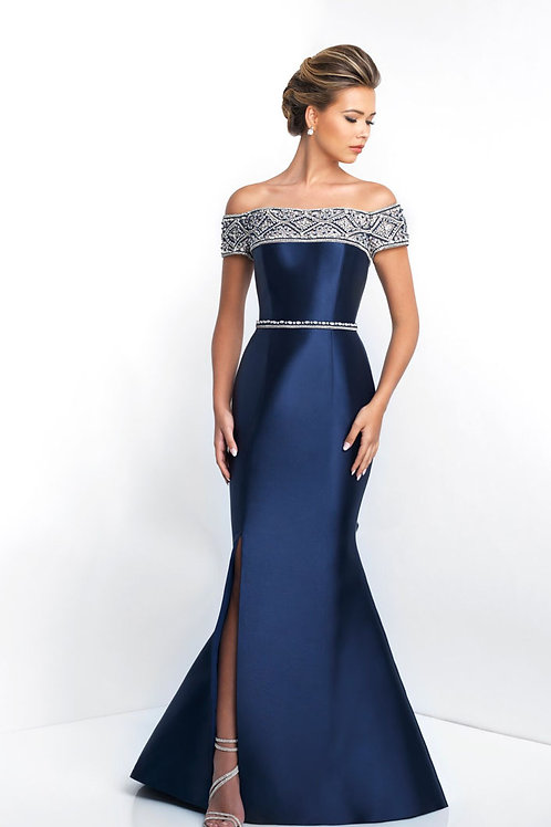 Blue Off-the-Shoulder Gown