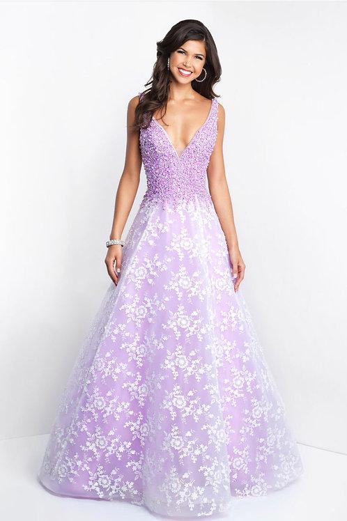Purple Elegant Flowers Gown
