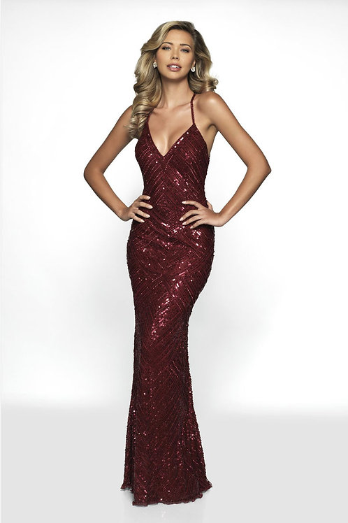 Burgundy Sexy Back Gown