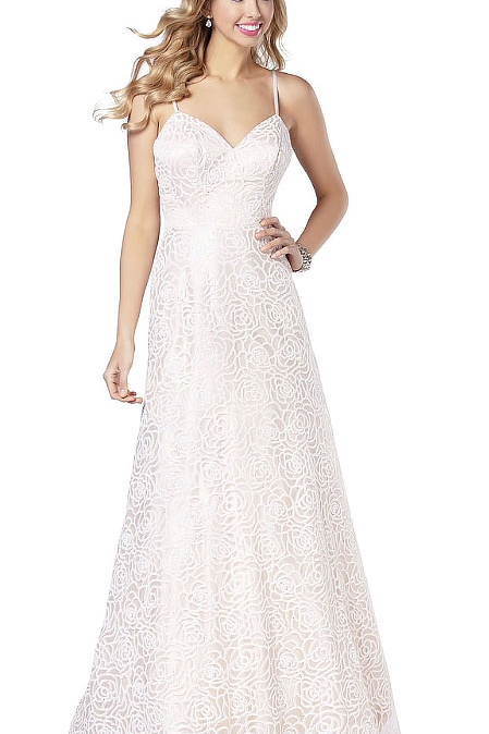 White Lace Gown with Straps