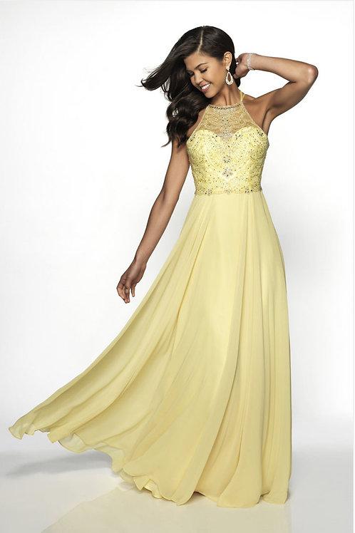 Yellow Beaded Halter Gown