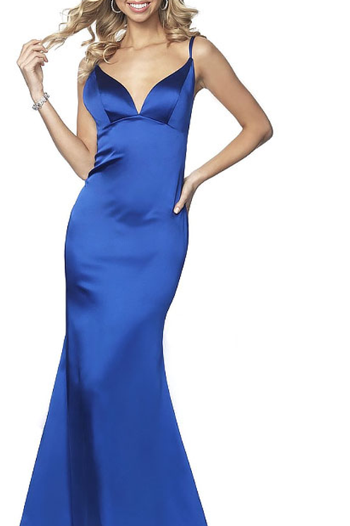 Royal Blue Silky Mermaid Gown