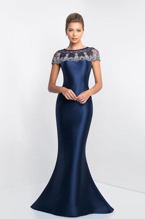 Blue Beaded Shoulders Gown