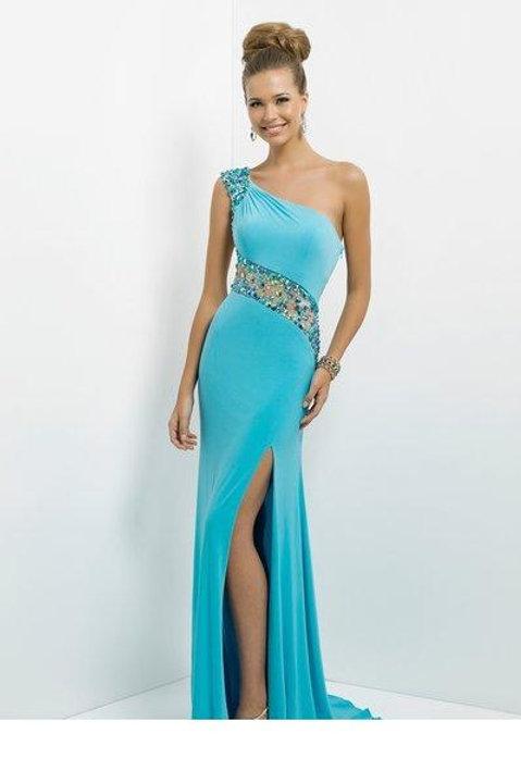 One Shoulder Sky Blue Dress