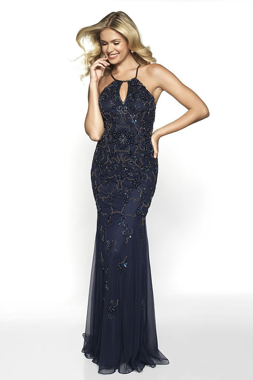 Navy Keyhole Halter Gown