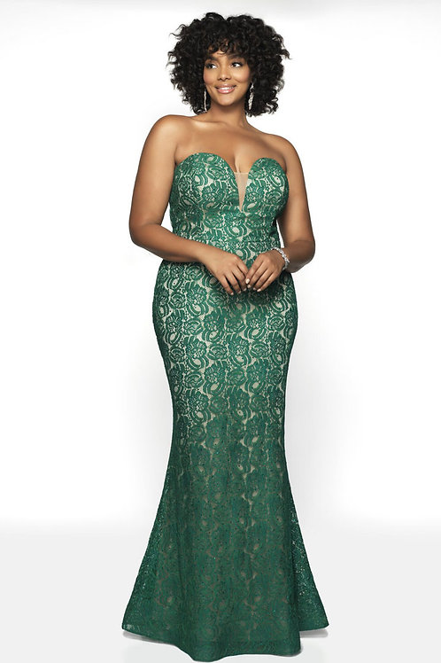 Emerald Strapless Gown