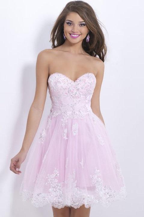 Sweet Pink Strapless Dress