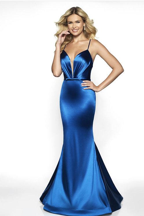 Blue Satin Queen Gown