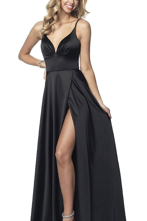 Black Silky Gown with Leg Slit