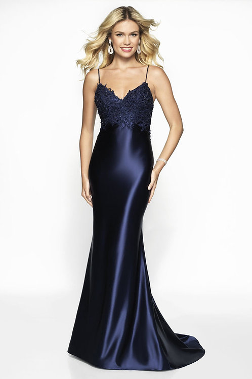 Navy Sophisticated Flowers Gown