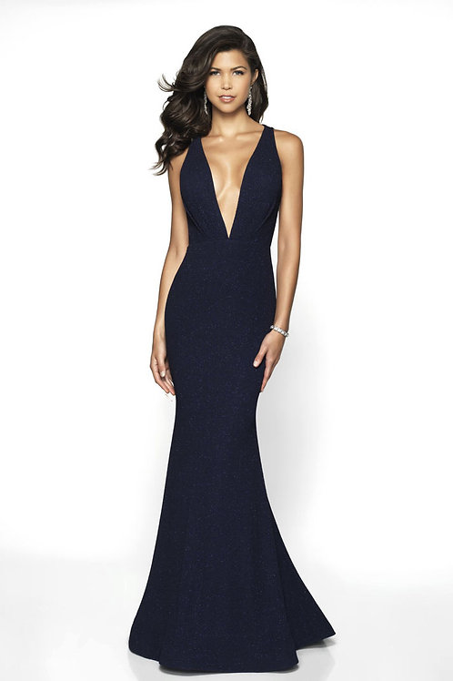 Navy Deep V Gown