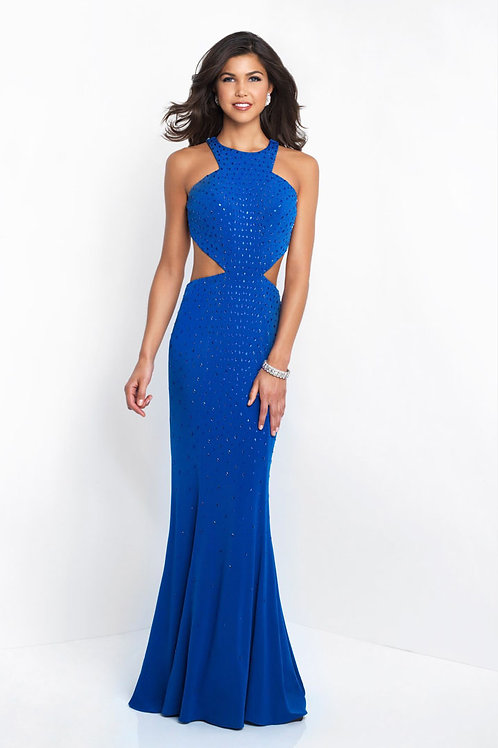 Blue Beaded Cutout Gown